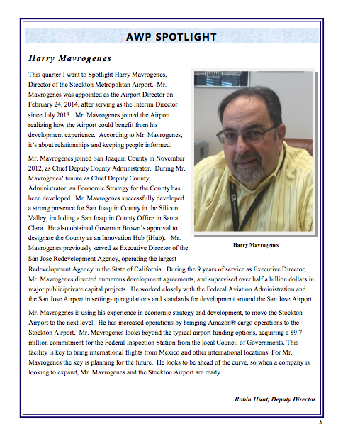 Airport Director Harry Mavrogenes in the Spotlight | Stockton Metropolitan Airport