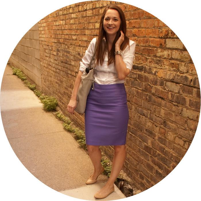 dash dot dotty, marrakesh purple, double serge cotton pencil skirt j.crew, purple pencil skirt, white dress shirt, creative young professional, ootd, what to wear to work