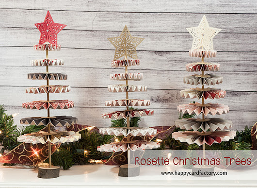 Rosette Christmas Trees - Happy Card Factory