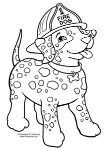 Dulemba coloring page tuesday fire dog for Fire safety coloring page