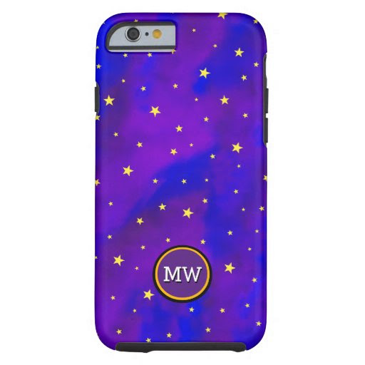 Sparkly Night Sky and Golden Stars Monogram Tough iPhone 6 Case