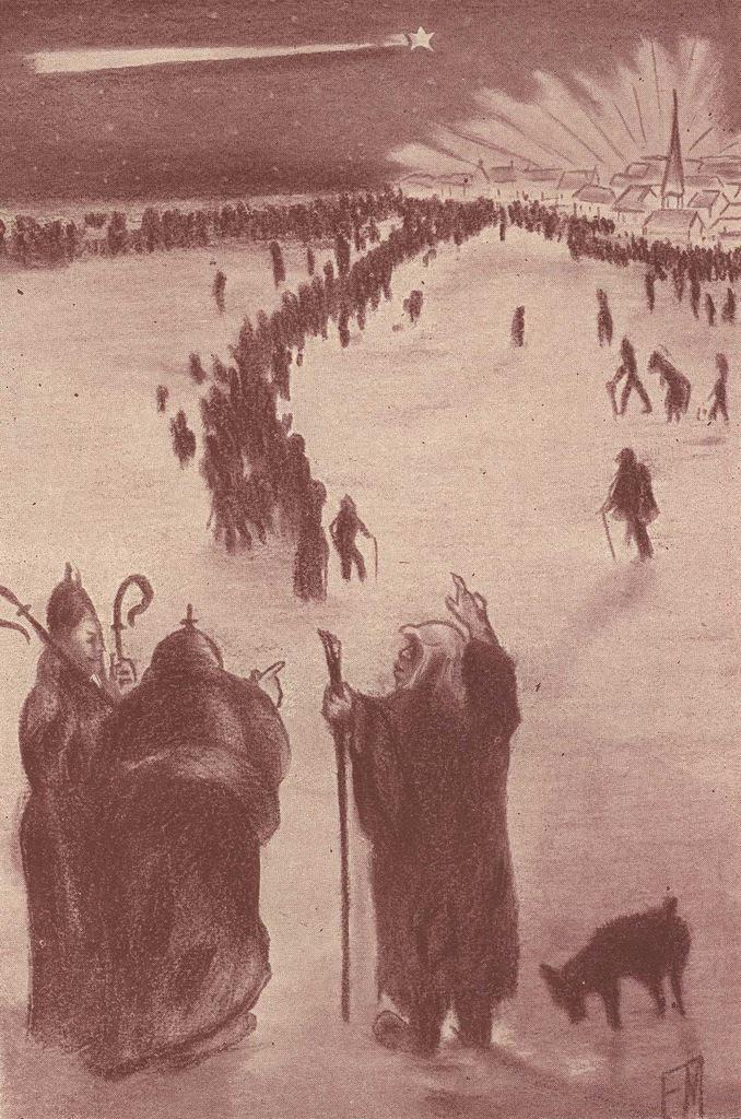 """Quatrième dessin hors texte d'Étienne Morannes (Claire Demolder-Rops) en tête du chapitre XIX,""""La nuit de Noël"""""""