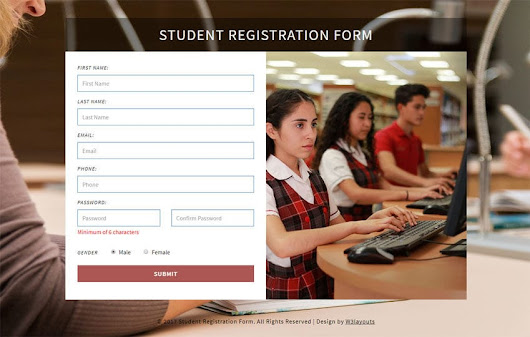 Student Registration Form a Flat Responsive Widget Template