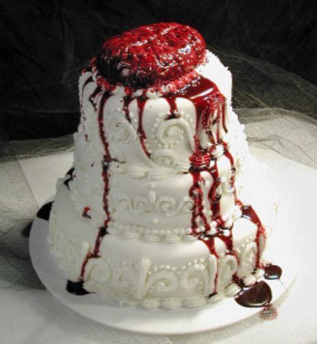 Bloody looking halloween wedding cake with bleeding brain