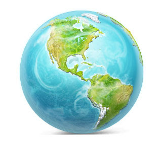 無料素材 地球を描いたイラストアイコンブルーの海とグリーンの大地