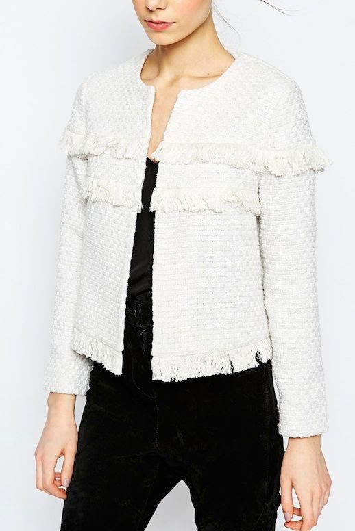 Le Fashion Blog Budget Friendly Under 100 White Fringe Textured Jacket Tank Top Black Jeans Via Asos