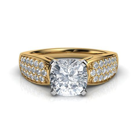 Wide Band Cushion Cut Cathedral Engagement Ring Natalie