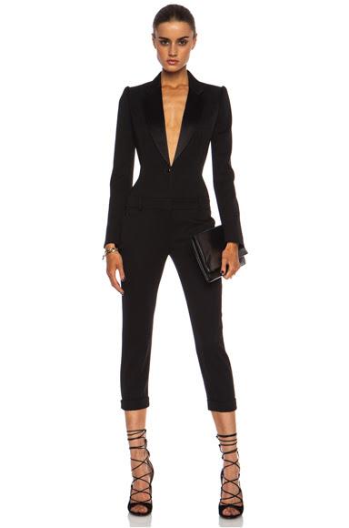 Alexander McQueen|Cigarette Tuxedo Virgin Wool Jumpsuit in Black [1]