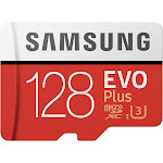 Samsung EVO Plus MB-MC128G MicroSDXC 128 GB Memory Card with MicroSDXC to SD Adapter - UHS-I U3/Class 10
