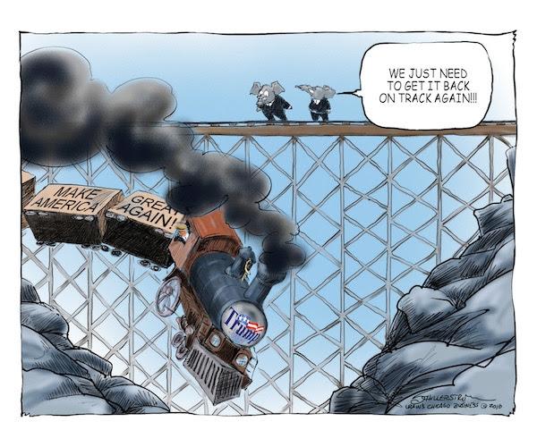 Image result for trump train wreck cartoon