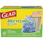 Glad 13 gal Tall Kitchen Drawstring Trash Bags, Recycling - 45 count