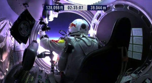 Inside the Red Bull Stratos space capsule, Austrian BASE jumper Felix Baumgartner prepares for his historic 'spacedive' on October 14, 2012.