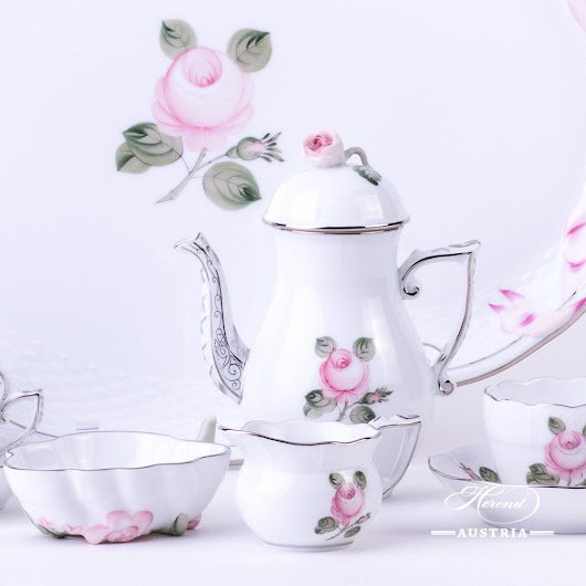 Vienna Rose Platinum coffee set | Herend Austria