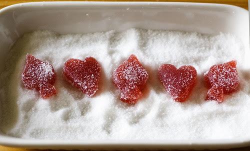 strawberry rhubarb pate de fruit - shapes