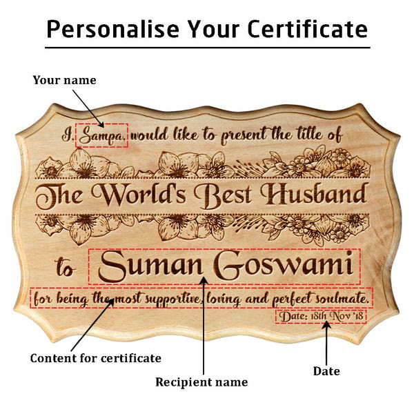 Personalized Best Husband Certificate Award Anniversary Gifts For
