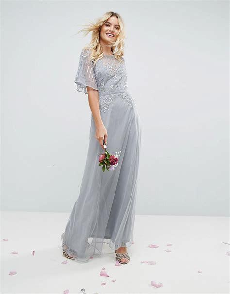 ASOS WEDDING Embellished Lace Insert Flutter Sleeve Maxi