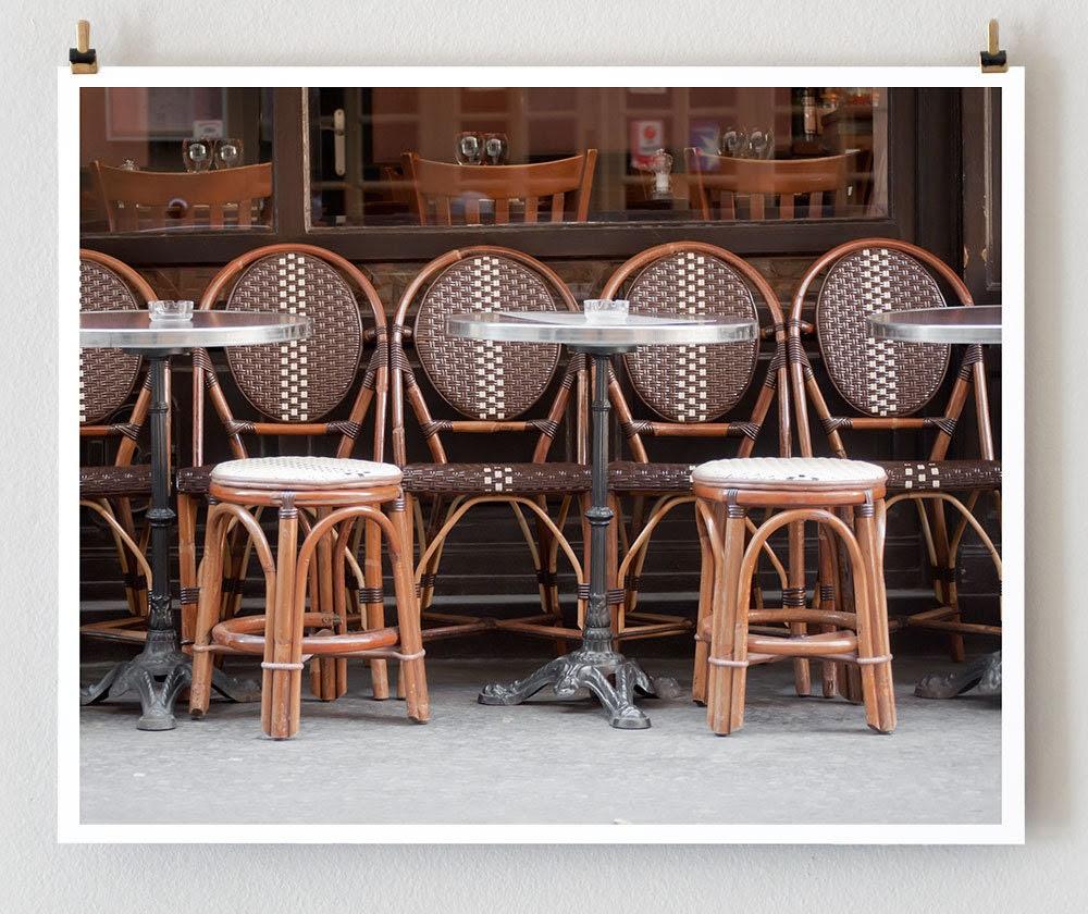 Paris Cafe Photo, Brown 16x20 France Art Print, French Country Wall Art, Cafe Chairs