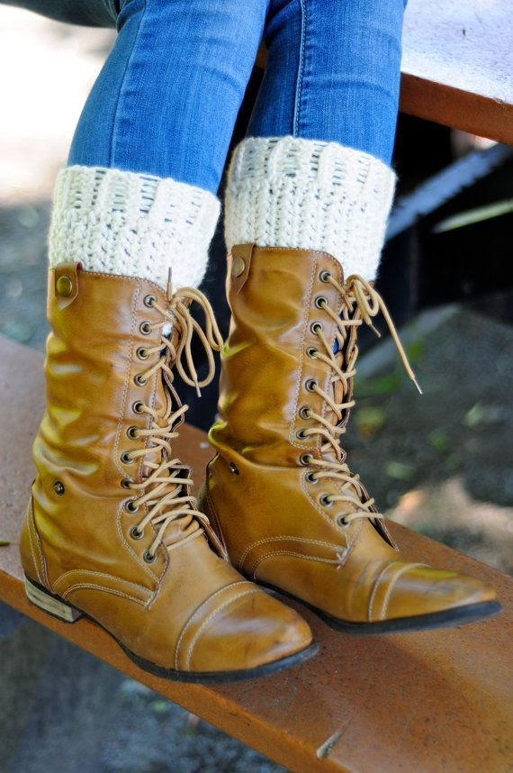 Boot Cuffs Plus Size Crochet Boot Socks in Cream  Leg by Caheez, $21.50
