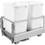 Rev-A-Shelf 5149-18DM-211 Double 35 Qt Pullout Cabinet Trash Can w/ Rev-A-Motion by VM Express
