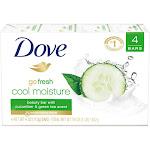 Dove Beauty Bar, Go Fresh, Cool Moisture - 4 pack, 4 oz bars