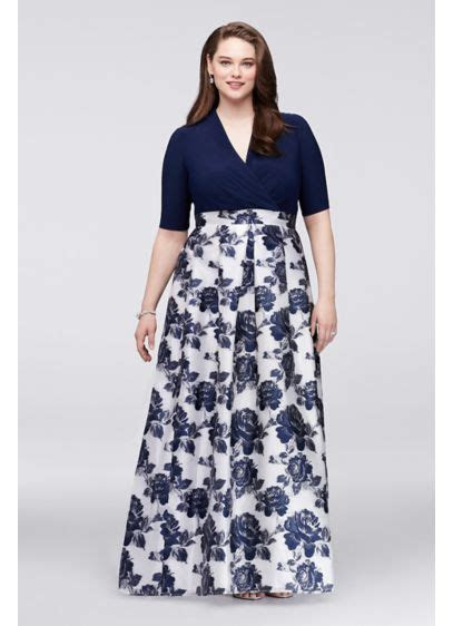 Surplice Plus Size Ball Gown with Jacquard Skirt   David's