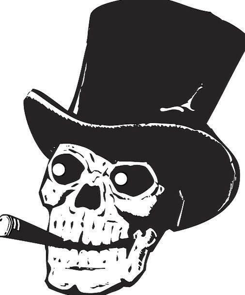 Skull Mind Silhouette Outline Top Hat Black Dark Death