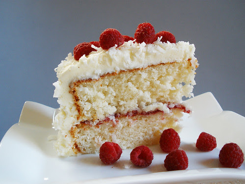 Coconut  Raspberry Cake Slice