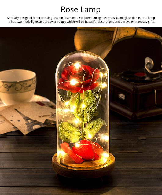 Red Rose Lamp with LED Fairy String Lights, Fallen Petals and ABS Base in A Glass Dome, Valentine's Day Best Gift for Her