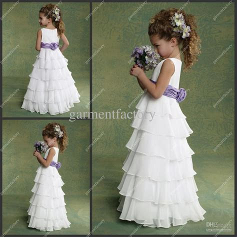 Cheap Flower Girls Dresses For Weddings Chiffon White And