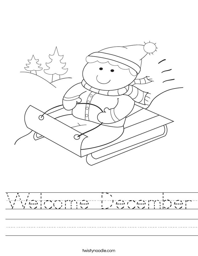 Welcome December Worksheet - Twisty Noodle