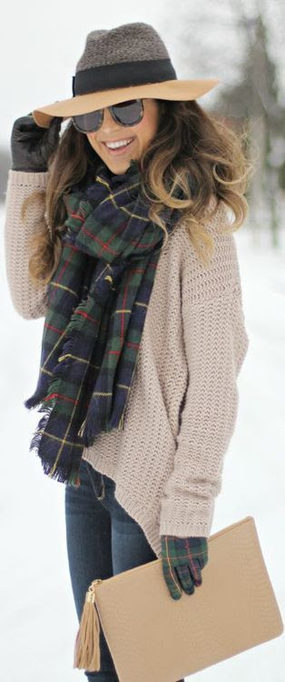 scarf, comfy sweater, hat