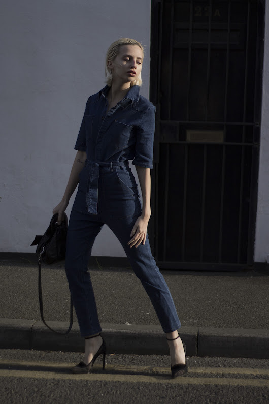 Denim jumpsuit + Alexander Wang heels