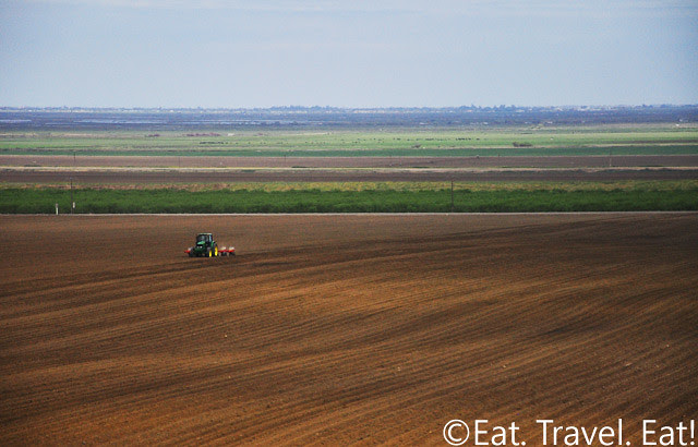 Driving on Interstate 5- Wide Expanse of Farmland