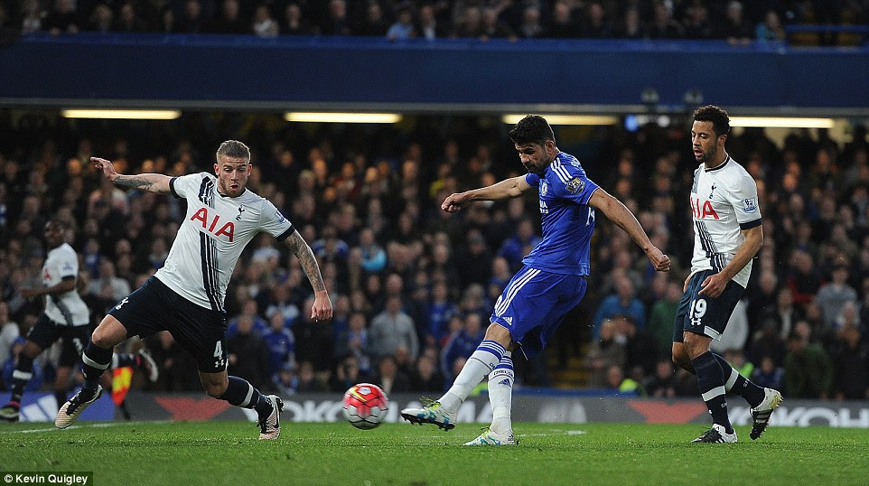 Costa tries a shot from distance as both sides look to break the deadlock at a heaving Stamford Bridge