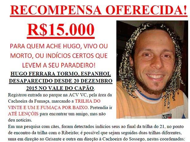 Família de espanhol desaparecido na Bahia oferece recompensa de R$ 15 mil (Foto: Divulgação/Arquivo Pessoal)