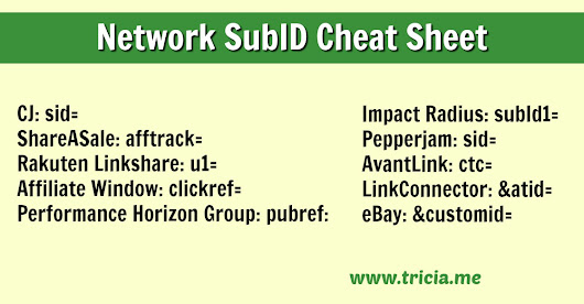 Cheat Sheet for Affiliate Network SubIDs