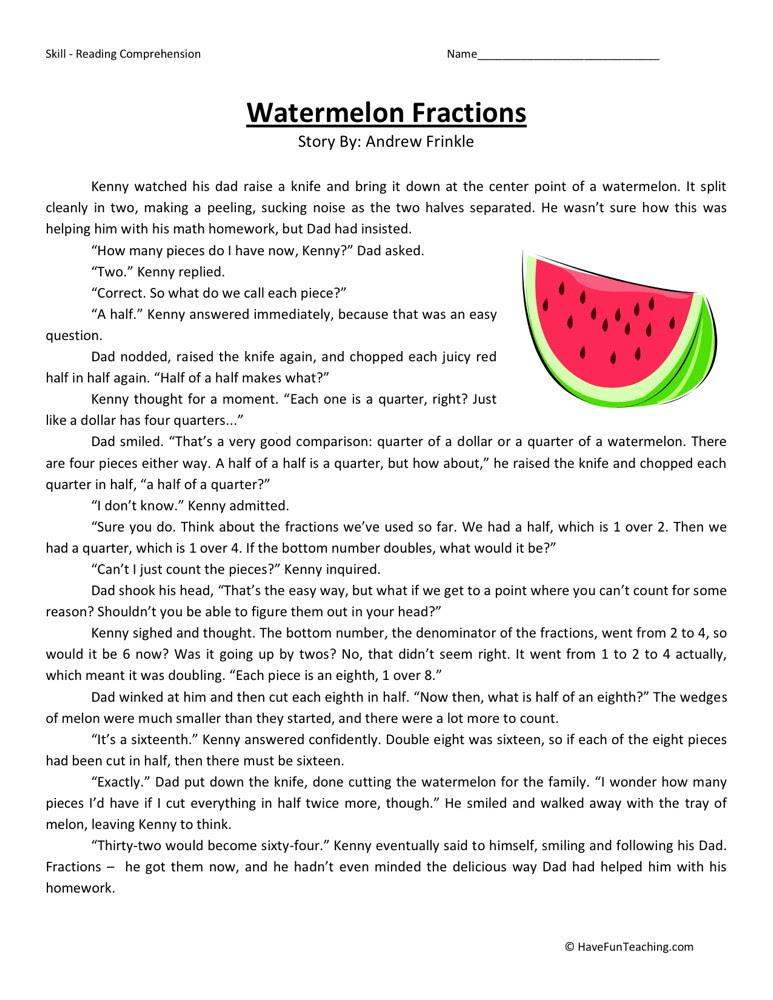 Reading Prehension Worksheet Watermelon Fractions