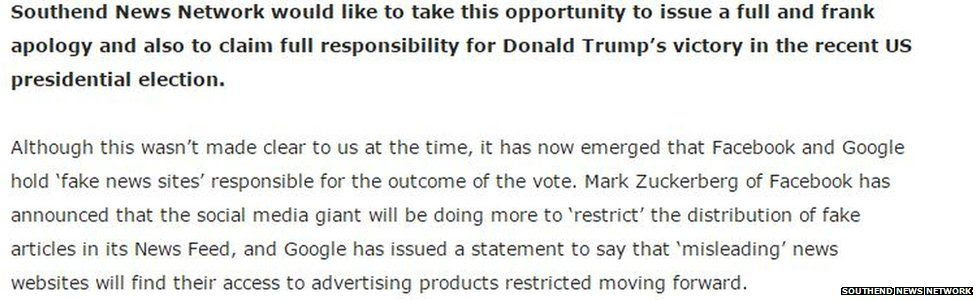 Copy from a Southend News Network article claiming full responsibility for Donald Trump's election win