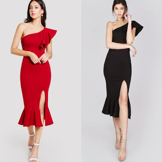Black Ruffle Fluted Hem Sleeveless One Shoulder 2018 High Quality Elastic Mid Length Clubware Bandage Dress