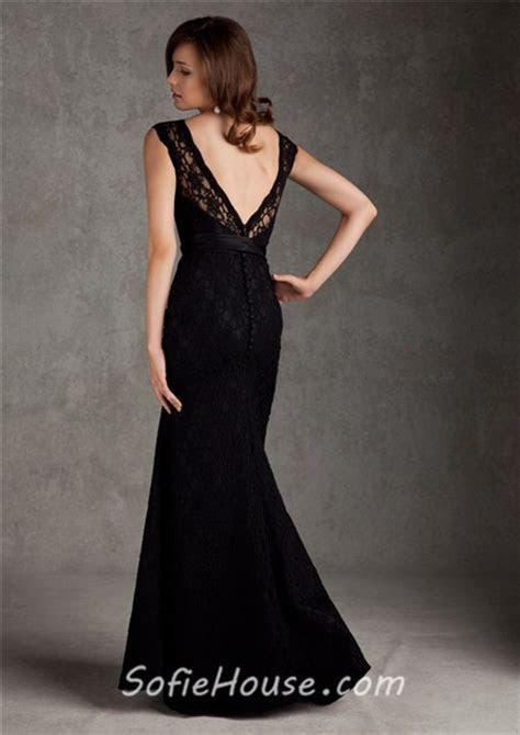 Bateau Neckline Low V Back Long Black Lace Wedding Guest