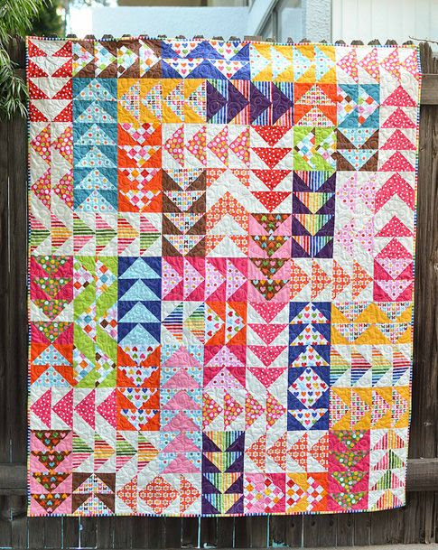 Remixed Geese.  Original source: http://kitchentablequilting.blogspot.com/2012/10/remixed-geese.html