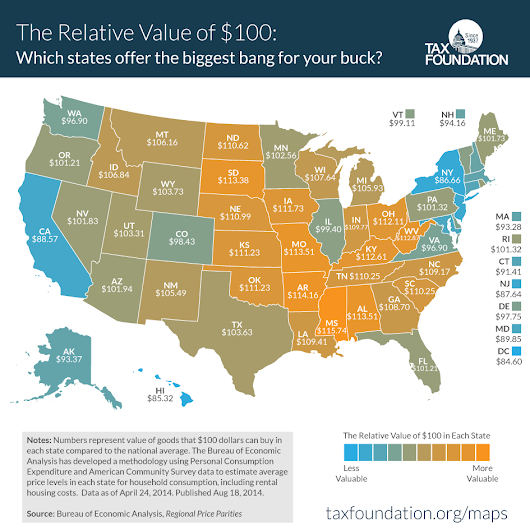 The Real Value of $100 in Each State