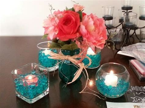 teal and coral wedding   Google Search   Reception Decor