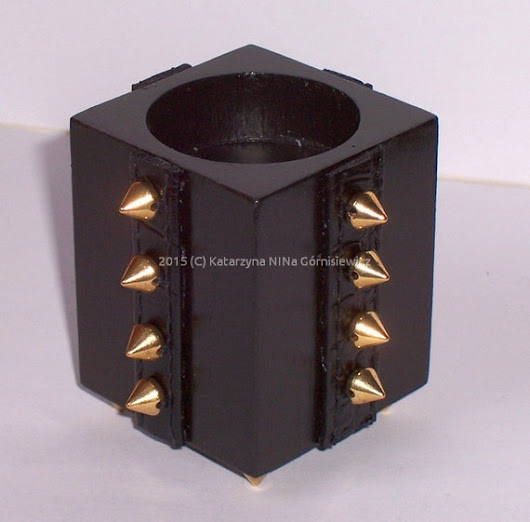 Black square tealight holder with studs type B by Dragonsblow