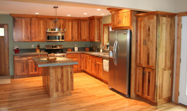 Antique Reclaimed Chestnut kitchen cabinets - Traditional ...