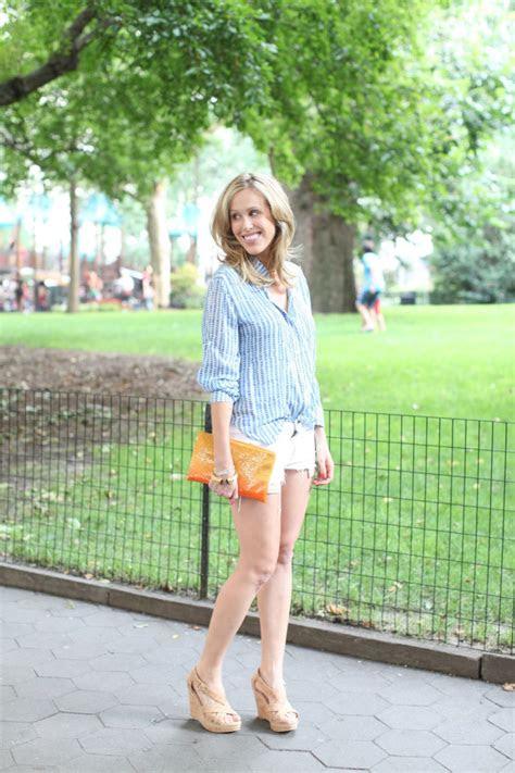 denim shorts  summer nights fashionable hostess