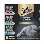 Sheba Perfect Portions Wet Cat Food Cuts in Gravy Gourmet Salmon, Signature Tuna
