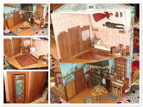 kids bedroom and kitchen in pop up doll house