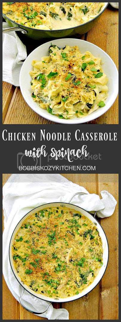 Chicken, Spinach, and Noodle Casserole is an easy weeknight comfort food dish the whole family will love from www.bobbiskozykitchen.com