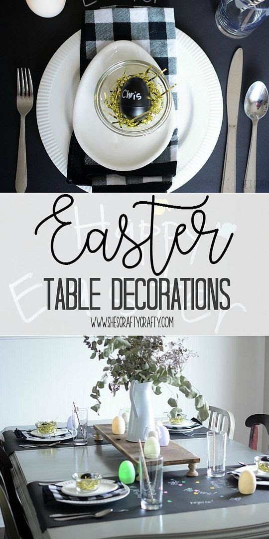 easter table, chalkboard paper, table decorations, holiday decorations